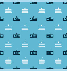 set gamepad and cake on seamless pattern vector image