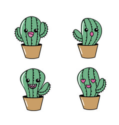set kawaii cute tender cactus plant vector image