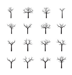 Set naked black trees vector