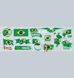 set national flag brazil in vector image