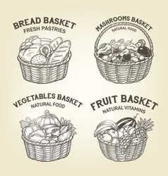 set of baskets with diferent kinds of food vector image