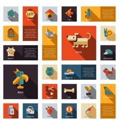 Set of flat design pet shop icons vector