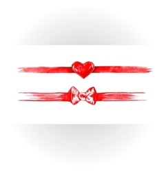 Set of red watercolor ribbons bows hearts vector