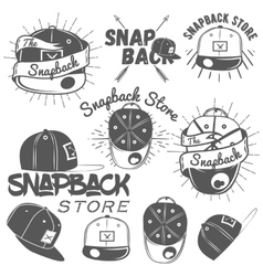 set of snapback store labels in vintage vector image