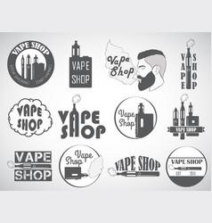 Set vape e-cigarette logo emblems and badges vector