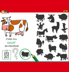 shadows game with cows characters vector image