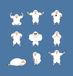 sheep set poses and motion farm animal happy and vector image