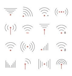 simple set thin red and black wifi icons vector image