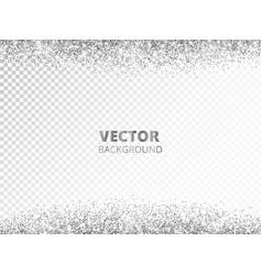Sparkling glitter border frame falling silver vector