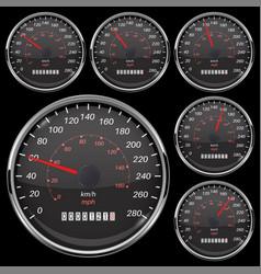 speedometer set black speed gauge with metal vector image