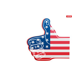 sports fan foam finger like with usa flag vector image
