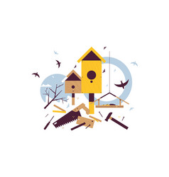 spring starling sitting on wooden birdhouse vector image