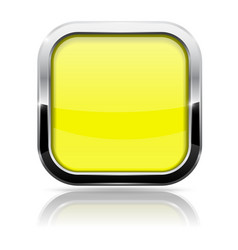 Square button yellow web icon with metal frame vector