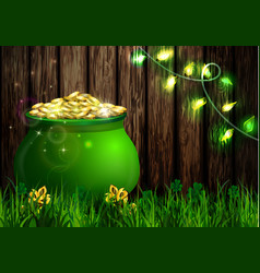 St patrick s day symbol green pot vector