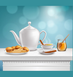 Teapot honey jar realistic set vector