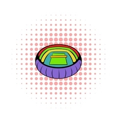 Tennis stadium icon comics style vector