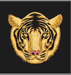 Tiger face embroidery vector