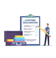 Tiny airport security customs officer character vector
