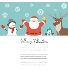Funny merry christmas card christmas characters vector