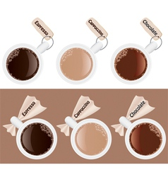 Six cups of coffee vector image
