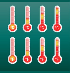 thermometers icon with different levels flat on vector image vector image