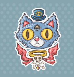 cartoon mysterious cat vector image vector image