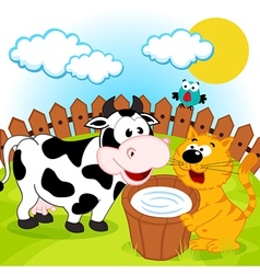 Cat cow and milk vector