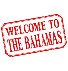 The bahamas - welcome red vintage isolated label vector