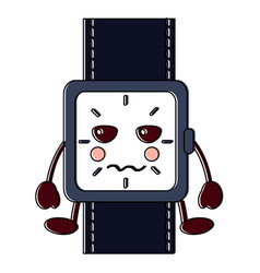 angry watch kawaii icon image vector image