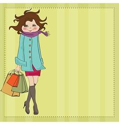 beautiful young woman at shopping vector image