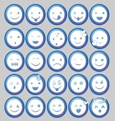 Blue Circle Emoticon vector image vector image
