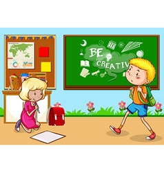 Children studying in the classroom vector image vector image