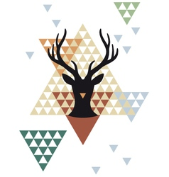 Christmas deer with triangle pattern vector image