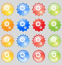 gears icon sign Big set of 16 colorful modern vector image