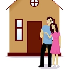 Happy couple with house keys vector image