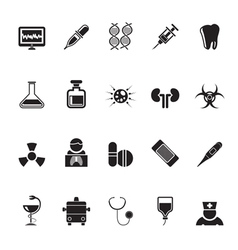 Silhouette Healthcare and hospital icons vector image