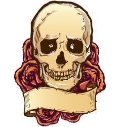 skull roses banner vector image vector image