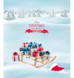 Winter background with Christmas presents on a vector image vector image