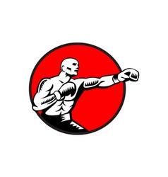 Boxer Jabbing Punching Circle Woodcut vector image
