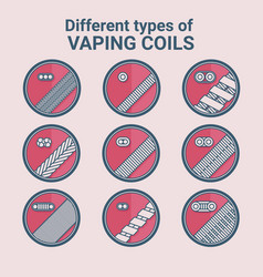 different types of vaping coils flat icons set vector image