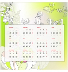 floral template for calendar 2011 vector image vector image