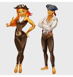 Girl pirate and captain two cartoon characters vector image vector image