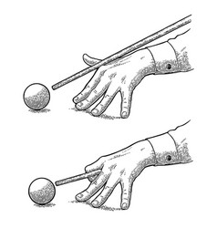 male hand in a shirt is aimed cue the ball vector image