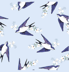 vintage pattern with little swallows vector image