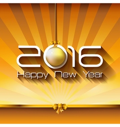 2016 Happy New Year Gift greeting card with gold vector image