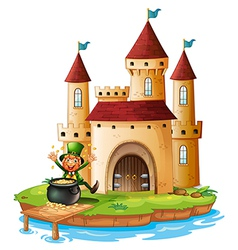A castle with an old man near the pot of gold vector image