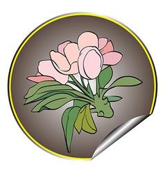 apple flower sticker grey vector image
