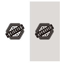 Approved and rejected permit set stamp label seal vector