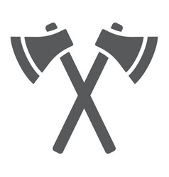 axes glyph icon weapon and hatchet crossed axes vector image