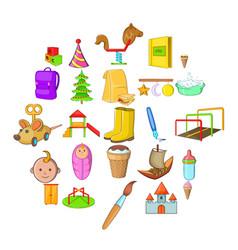 babies icons set cartoon style vector image